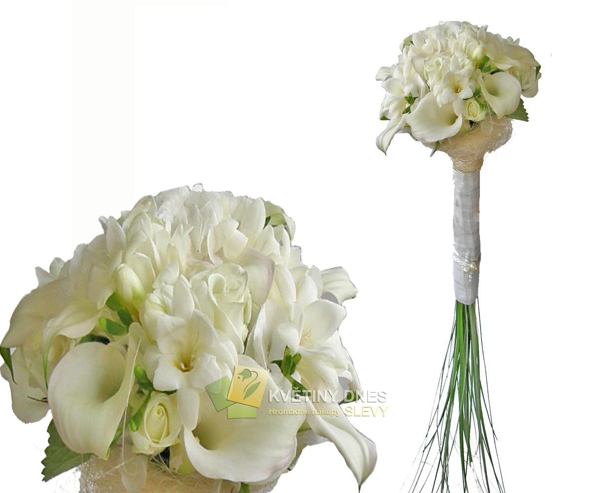 Svatební kytice 192 id svat 10192 elegantní bílá calla frézie a